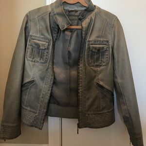 Gray Faux leather Jacket by Sophie Max - NWOT XS